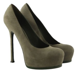 Saint Laurent Yves Ysl Tribtoo Suede Pumps Heels Sz 40 10 $750 Olive Green Platforms