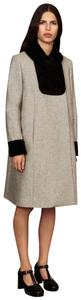 Orla Kiely Wool Velvet Pan Collar British Fall Pea Coat