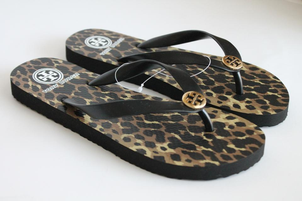 7509135fca872c ... Tory Burch Leopard Black Brown Fleming Flat Leather Sandals Size US ...  good selling ...