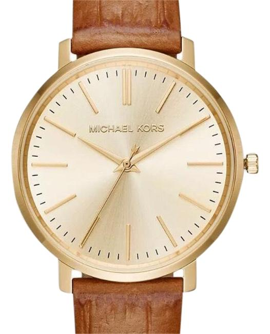 Item - Gold New Mk2496 Jaryn Tone Dial Brown Leather Strap Women's Watch