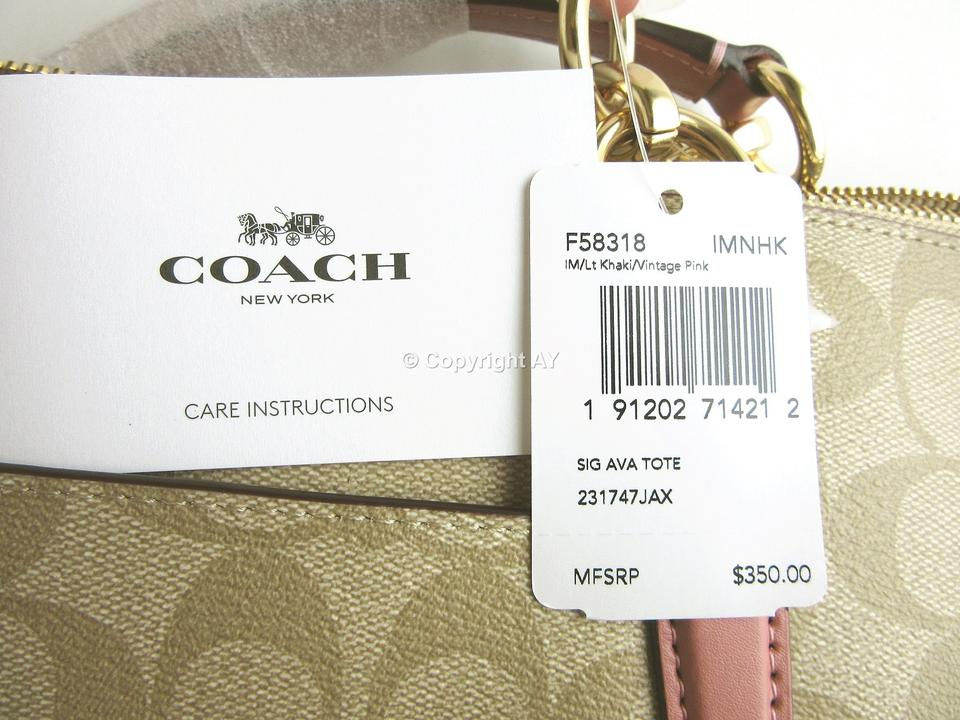 39b6e802 Coach Ava F58318 Signature Lt Khaki Beige / Vintage Pink Coated Canvas Tote  52% off retail