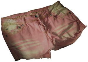 Dollhouse Jeans Belched Distressed Cut Off Shorts Pink & White