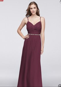 David's Bridal Wine Chiffon Twisted Bodice Beaded Belt -w11147 Feminine Bridesmaid/Mob Dress Size 8 (M)