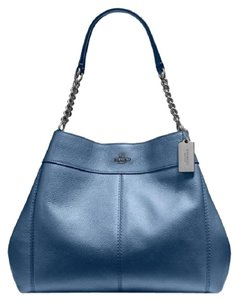 Coach Lexy Chain Metallic Pebbled Hobo Tote in Navy