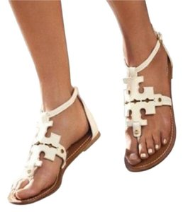 Tory Burch Phoebe Flats Leather Summer Ivory white Sandals