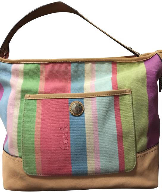 Coach Carly Signature Hamptons Striped Multicolor Canvas and Leather Tote Coach Carly Signature Hamptons Striped Multicolor Canvas and Leather Tote Image 1