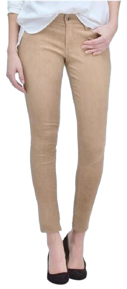 dffe75e2f8d764 AG Adriano Goldschmied Coyote Coated Suede Leather Legging Pants Beige  Stretchy Skinny Jeans