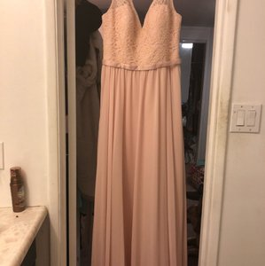 Mori Lee Blush Chiffon and Lace #714 Formal Bridesmaid/Mob Dress Size 10 (M)