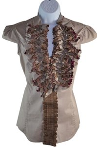 Yves Sain Laurent Ysl Rive Gauche Ruffled Cotton Button Up Sz 34-s Top Brown