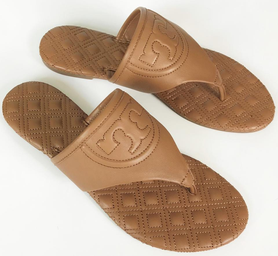 b9231118577d Tory Burch Royal Tan Fleming Flat Leather Sandals Size US 6.5 Regular (M