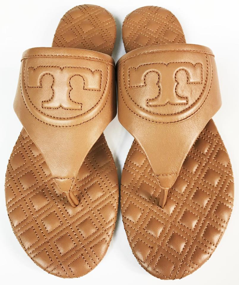 da16afdde280 Tory Burch Royal Tan Fleming Flat Leather Sandals Size US 6.5 ...