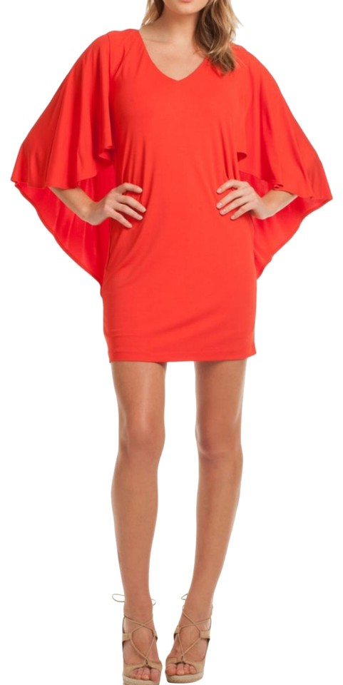 7e22bb631b2 Trina Turk Red Grotto Fluttery Capelet Short Cocktail Dress Size 2 ...