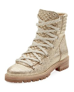 Christian Louboutin Metallic Lace Gold Silver Spike Platinum Boots