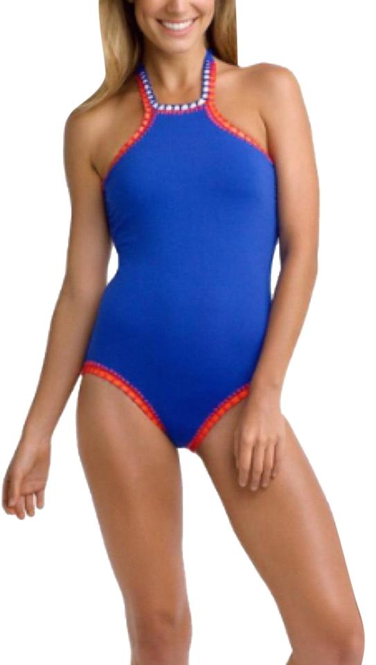 temperament shoes world-wide renown brand quality SeaFolly Blue 10693-472-summer Vibe High Neck Maillot Swimsuit One-piece  Bathing Suit Size 6 (S) 41% off retail