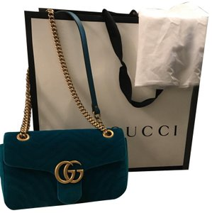 9d677d0a14e Added to Shopping Bag. Gucci Cross Body Bag. Gucci Marmont Petro Blue Velvet  ...
