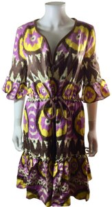 Milly of New York short dress Purple Brown Yellow Ikat on Tradesy