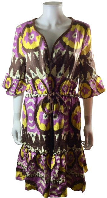 Preload https://img-static.tradesy.com/item/23606421/milly-of-new-york-purple-brown-yellow-ikat-tribal-34-sleeve-mid-length-short-casual-dress-size-12-l-0-1-650-650.jpg