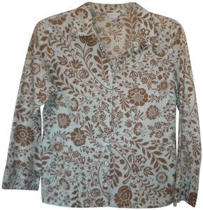 Nomadic Traders Floral 3/4 Sleeve Button Front Cotton Button Down Shirt Light Blue/Brown