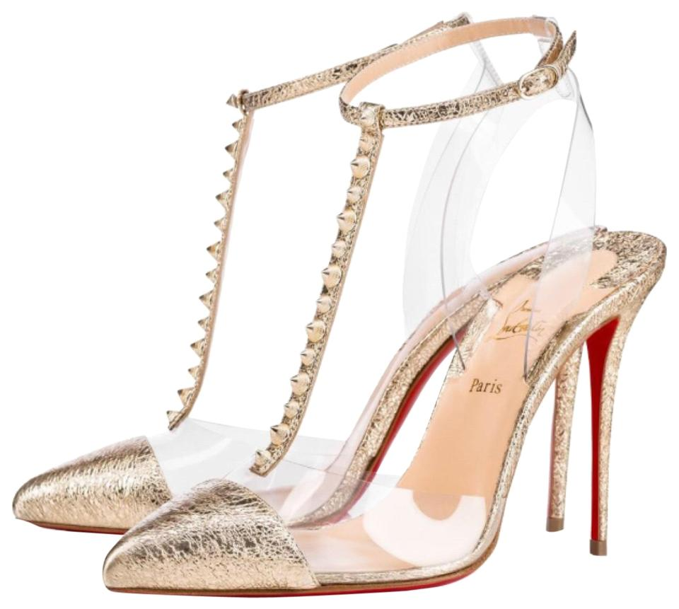 Christian Louboutin Gold Nosy Spike Pumps Platine Vintage Pvc Stiletto Pumps Spike 08d479