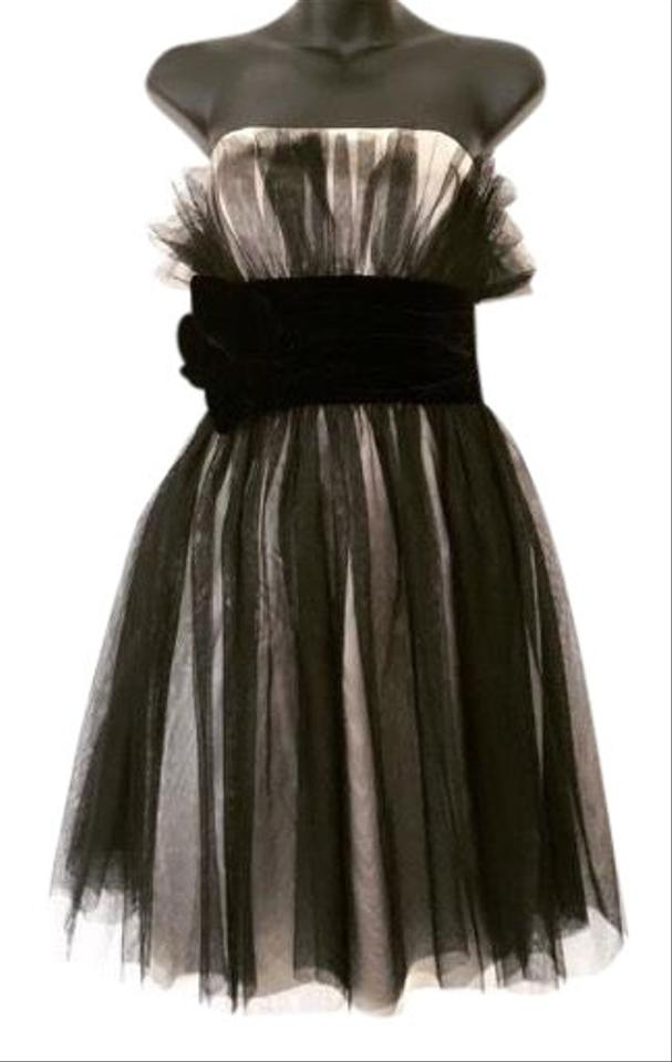 a60ad83ad7 Marchesa Black and Cream Neiman Marcus Notte Layered Tulle Mid ...