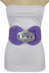 Alwaystyle4you Lavender Women Wide Stretch Belt Silver Metal Bling Infinity Buckle