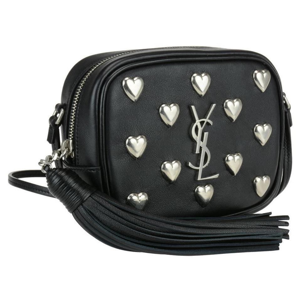 94814ca7e761 Saint Laurent Monogram Ysl Heart Blogger Purse Black Leather Cross ...