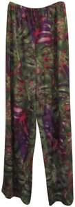 Zac & Rachel Relaxed Fit Elastic Waistline Abstract Watercolor Palazzo Style Wide Leg Pants Multi-Color Green