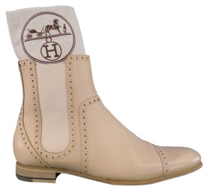 Hermes Broguing Cap Toe Slip On Chelsea Bone Wood Heel Cream Boots
