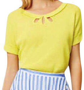 Anthropologie 3 Cut Outs Front Kehole Tie Back Vintage Inspired Happy Color Top Oversized