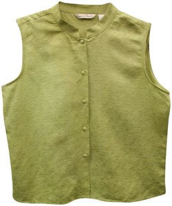 French Laundry Sleeveless Silk/Linen Top Green