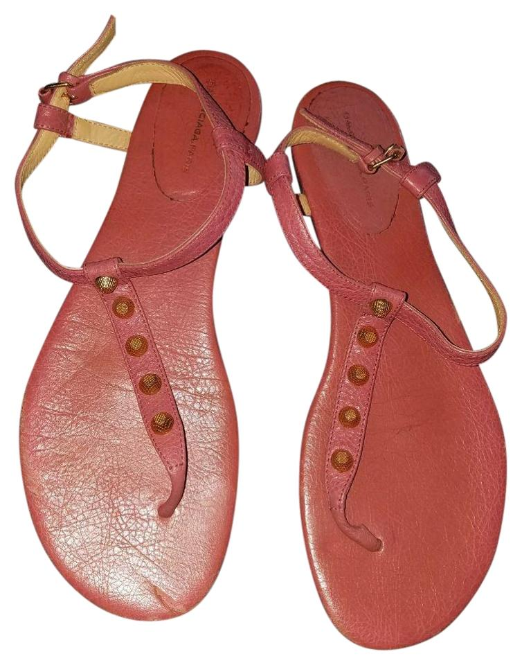 Balenciaga Pink Leather Studded Arena Sandals Thong Sandals Arena f570f0