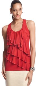 White House | Black Market Ruffled Studded Spring Summer Tiered Top Red