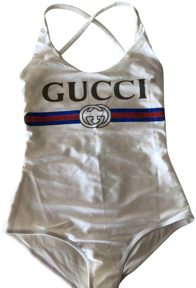 ea2e97a3f0a Gucci White Sparkling Swimsuit with Logo One-piece Bathing Suit Size ...