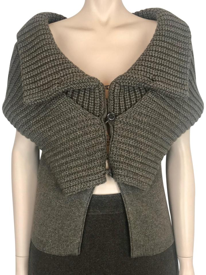 ce0e60079924b Givenchy Cashmere Cardigan Off Shoulder Shawl Collar Brown Sweater. Size  8  ...