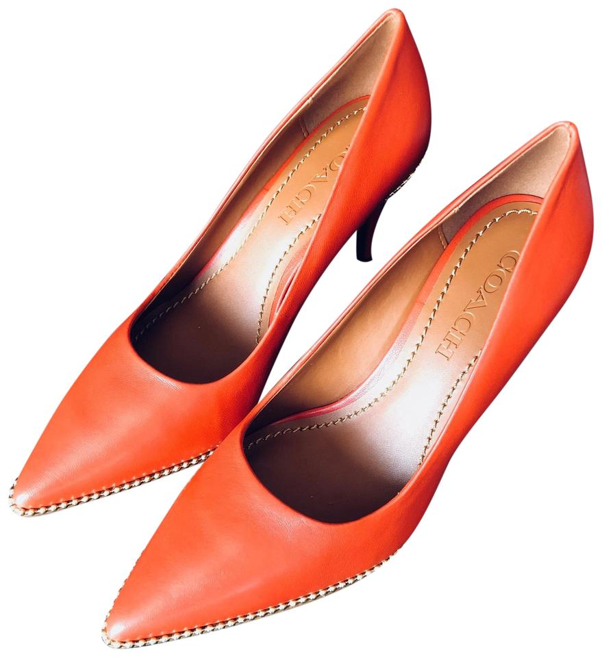 6ad190af290 Coach Orange Red Parker Beadchain Pumps Size US 7.5 Regular (M
