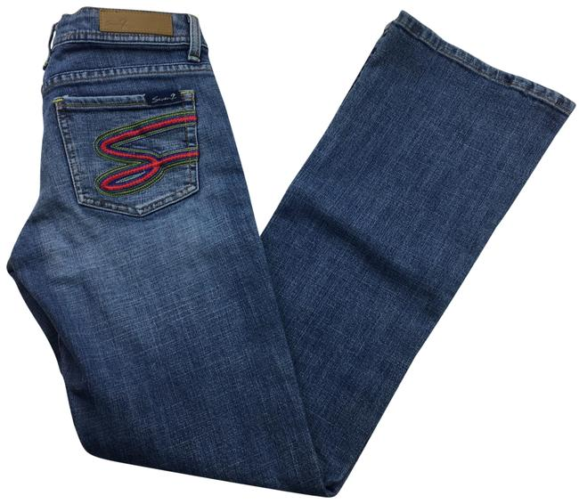 Item - Blue Light Wash Embroidered Pocket Boot Cut Jeans Size 4 (S, 27)