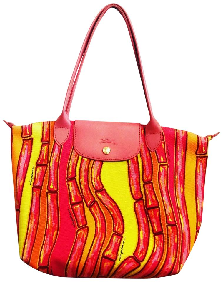 b920d8e7621c Longchamp Pliage Orange Print Canvas Tote - Tradesy