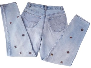 Jou Jou Funny Applique Hight Waist Pockets Pre-owned Boot Cut Jeans-Distressed