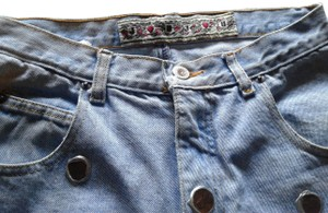 Jou Jou Funny Used Applique Hight Waist Pockets Boot Cut Jeans-Distressed