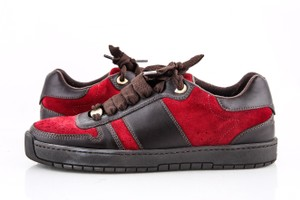 Louis Vuitton Dark Brown Red Low-cut Sneakers Leather Suede Shoes