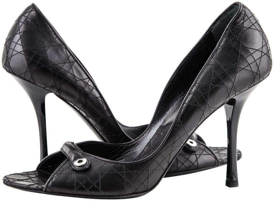 9dda07ec72 Dior Black Cannage Peep Pumps Size US 9 Regular (M, B) - Tradesy