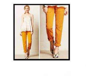 Anthropologie Moto Roll Up Casual Straight Pants Yellow Gold