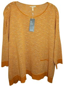 Eileen Fisher Stripe Knit Top Gold