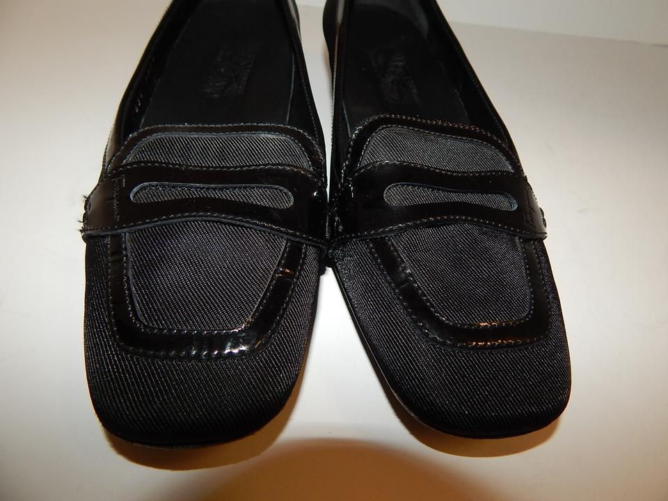 Salvatore Ferragamo Black Patent Leather Nylon Loafers Italy Pumps Size US 8.5 Regular (M, B)