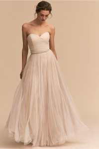 BHLDN Moonlight Ivory Tulle Calla Feminine Wedding Dress Size 8 (M)