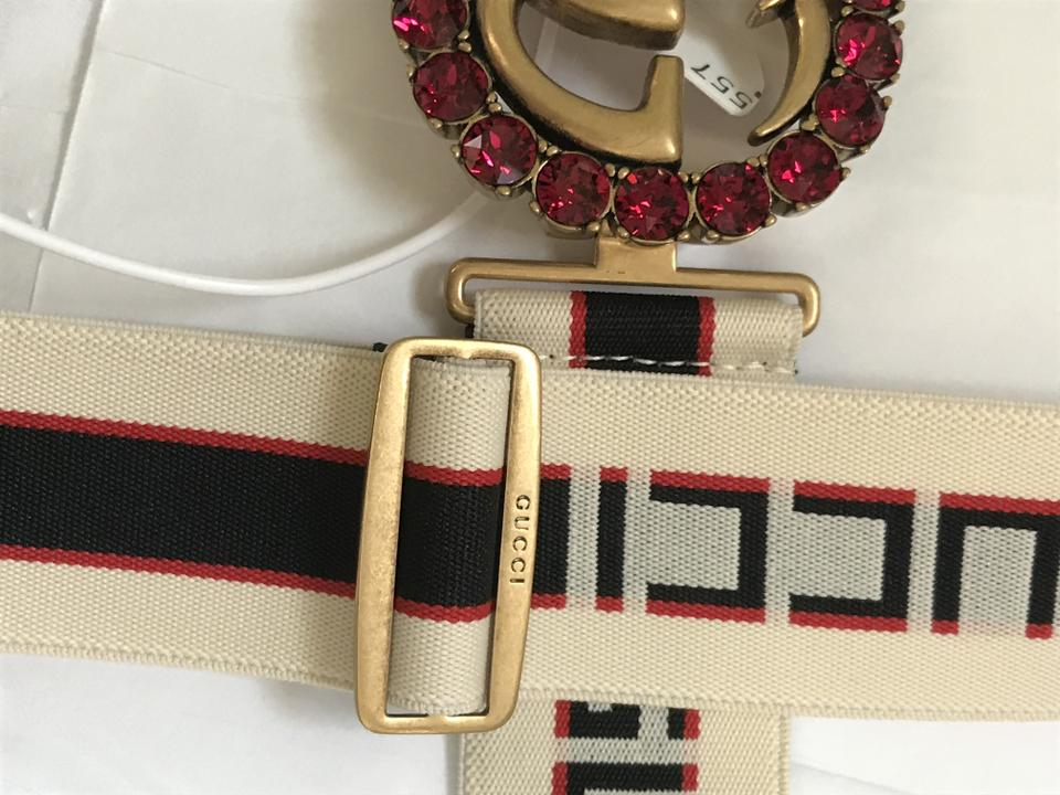 7cb6f53660f Gucci Stripe Belt with Double G and Crystals Size 85 Image 9. 12345678910