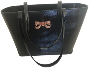 be082e8d7 Ted Baker Patent Leather Tote in Black with Rose Gold