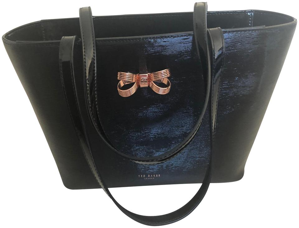 ffaab793b1 Ted Baker Small Bow Shopper Black with Rose Gold Patent Leather Tote ...