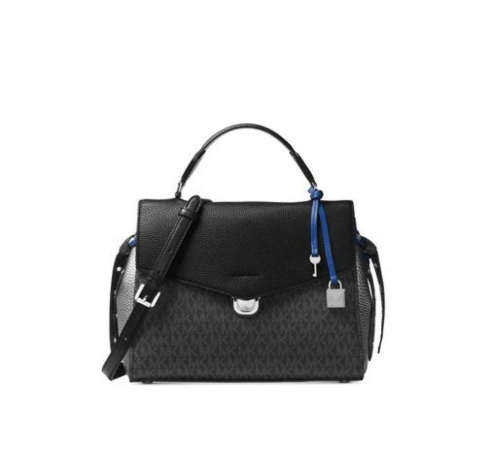 ef7e3a6df8fe Michael Kors Leather Satchel in black pewter electric blue Image 0 ...