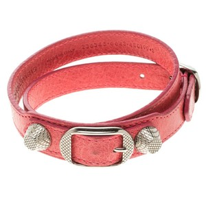 Balenciaga Pink Leather Arena Giant Wrap Bracelet